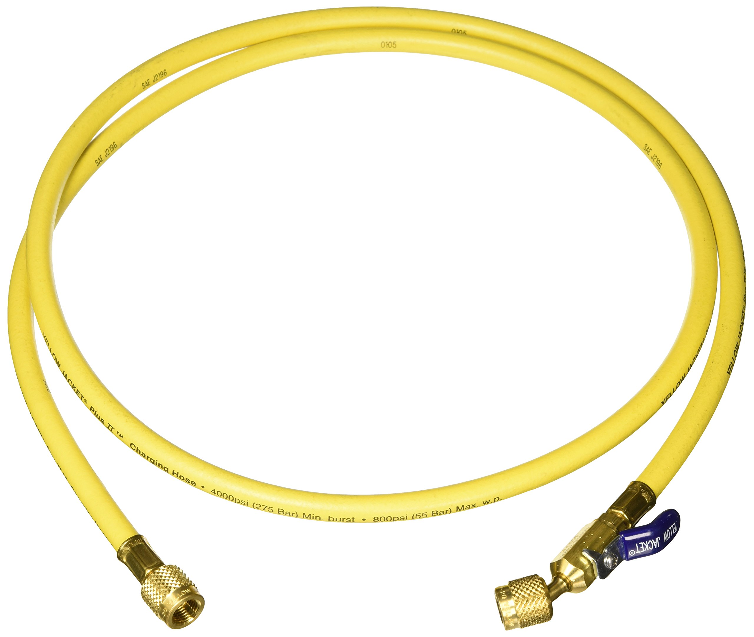 Yellow Jacket 29006 Plus II 1/4'' Hose with Compact Ball Valve, 72'', Yellow