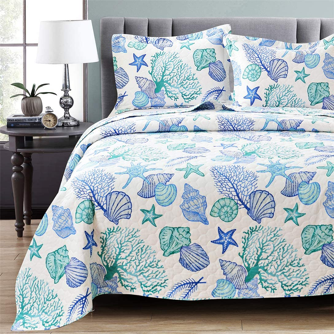 Junsey 3 Piece Bedspreads Coverlet Set Full/Queen Size Ocean Theme,Lightweight Reversible Quilts Set Seashell Conch Starfish,Ocean Creature Bedding Cover