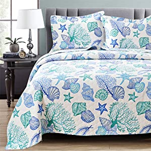 Junsey 3 Piece Bedspreads Coverlet Set King Size Ocean Theme,Lightweight Reversible Quilts Set Seashell Conch Starfish,Ocean Creature Bedding Cover