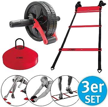 C.P. Sports Cross Training - Juego de 3 marcadores de entrenamiento, escalera de fitness, rodillo abdominal, deportes en casa, juegos de jardín, juegos de césped para exteriores: Amazon.es: Deportes y aire libre