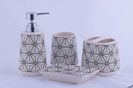Homevibes Accesorios De Baño De Ceramica Completo, Juego De Baño, Juego De Accesorios De