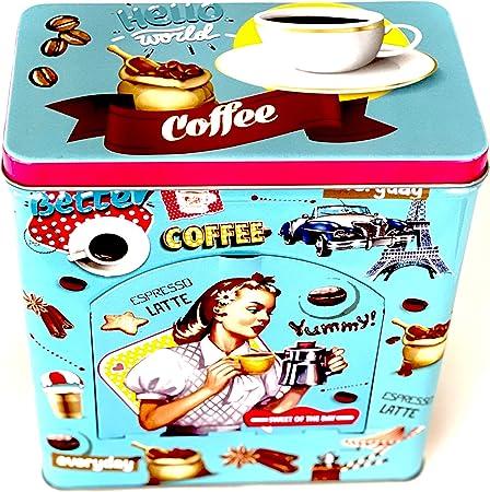 Bote de Metal Retro Para Cafe Caja Coffee Estilo Vintage Con Tapa y Dispensador Recipiente Metálico: Amazon.es: Hogar