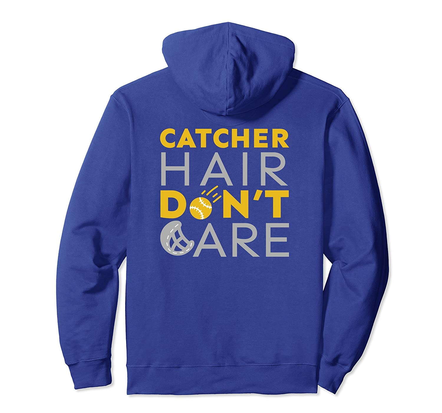 Catcher Hair Don't Care Girls Softball Fastpitch Hoodie Gift-mt