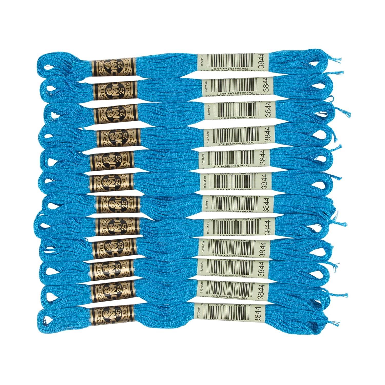 DMC Dark Bright Turquoise 3844 Cotton Floss Twelve skeins 6 Strand Embroidery