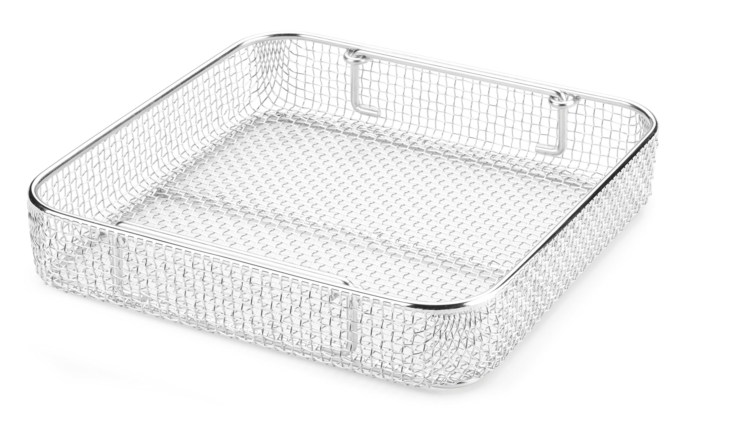 Key Surgical MT-9100 Mesh Tray with Drop Handles, Stainless Steel, 250 mm x 250 mm x 50 mm