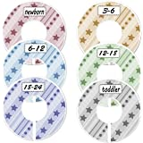 Blulu Colorful Baby Boy Girl Closet Dividers Clothing Rack Size Dividers Round, Stars and Dots Design, Set of 6