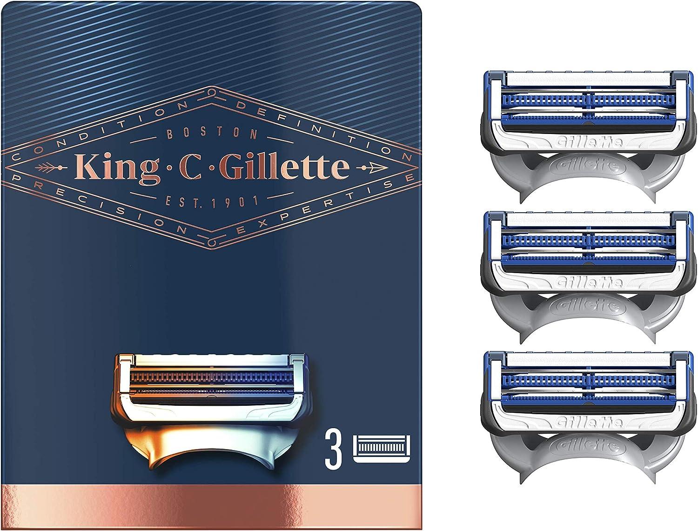 King C. Gillette Neck Shaving Razor Blades for Men, Pack of 3 Refills, with Skinguard + Sharper Stainless Steel Platinum Coated Blades