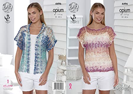 King Cole 4496 Crochet Pattern Ladies Mesh T Shirt Cardigan In