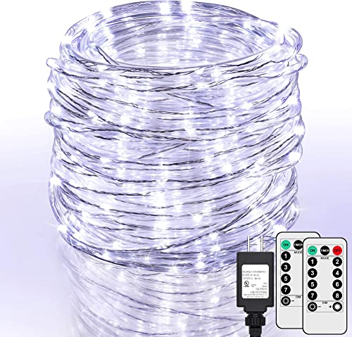 99Ft LED Rope Lights Outdoor, 500 LEDs Fairy String Lights Plug in 8 Modes, Dimmable, Super Durable, Waterproof String Lights Outdoor Indoor for Patio Wedding Christmas, 2 Remote Control White