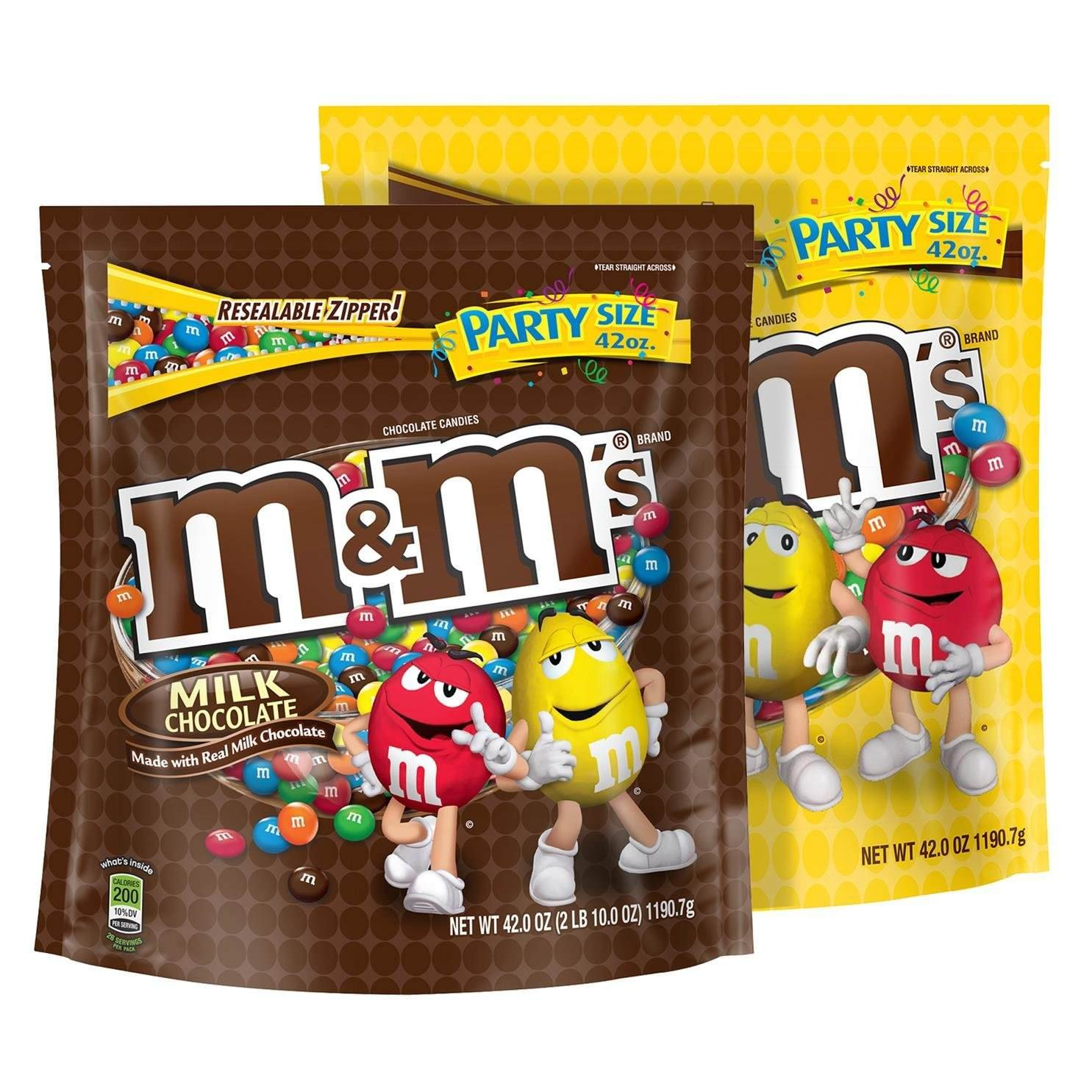 M&MS Milk Chocolate and Peanut Candy Mix Party Size, 42 Ounce Bags (2 Pack)