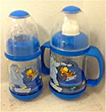 New Nuby Infa Infant Feeder Cereal and Baby Food Bottle with sippy cup spout (Blue Nuby Set)