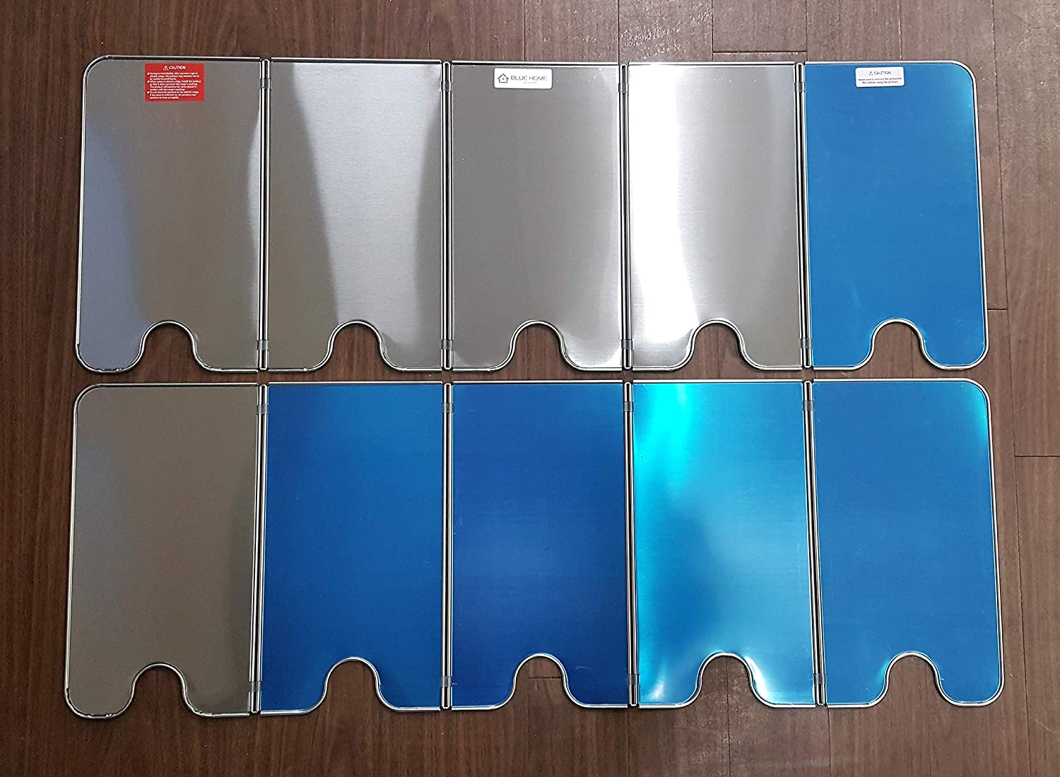 Stainless Steel 5 Sided Splatter Guard Compact Type Grease Splatter Screen Ltd BLUE HOME Splatter Guard for Cooking Unfold 36.6 in x 13 in Fold 7.28 in x 13 in x 1.06 in Mecha Solutech Co