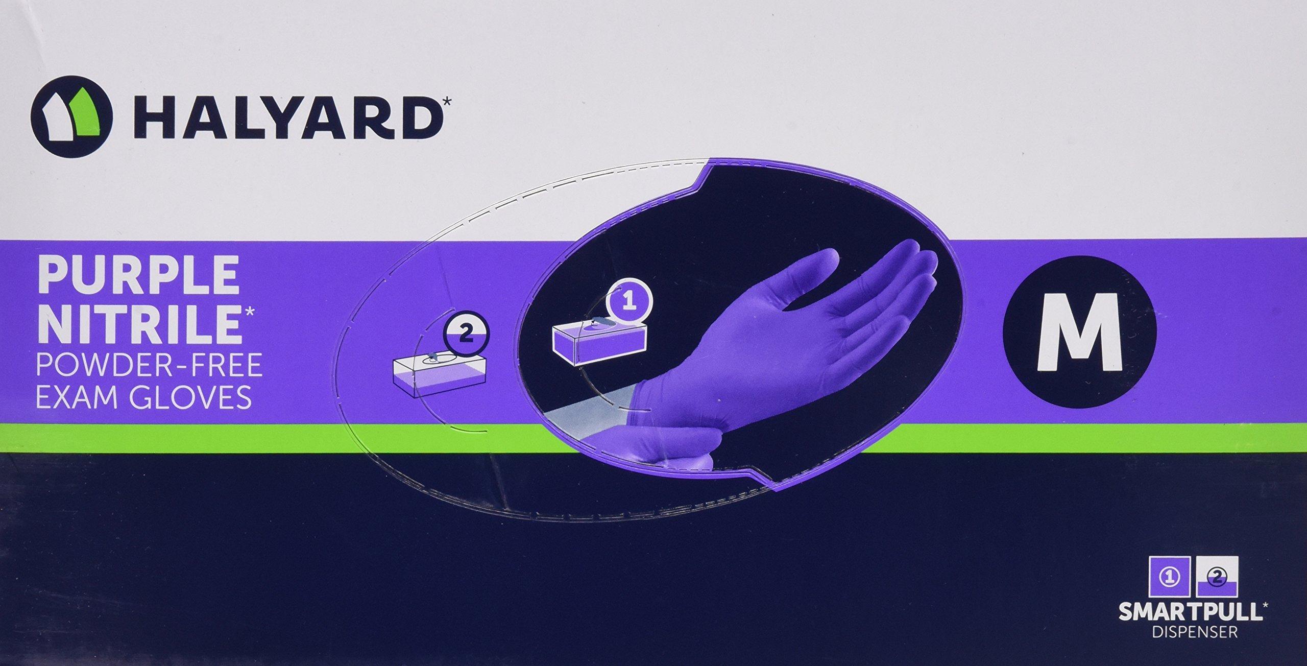 Halyard Health Purple Nitrile Exam Gloves, Box/100 SIZE MEDIUM (PACK OF 10)