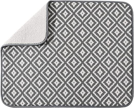 Amazon Com Subekyu Microfiber Dish Drying Mat For Kitchen Counter Absorbent Dishes Drainer Rack Pad For Countertop 19 2 By 15 8 Inches Rhombus Grey 1 Pack Kitchen Dining