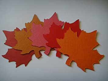 Mixed colours autumn maple leaf place name cards wedding