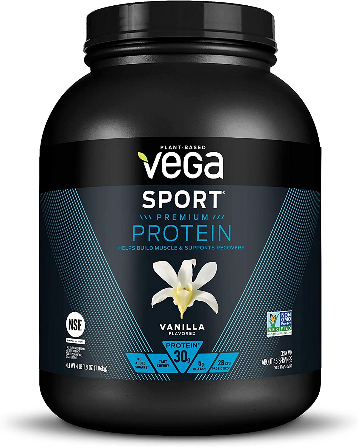 Vega Sport Protein Powder Vanilla (45 Servings, 65.8 Ounce) Plant Based Vegan Protein Powder, BCAAs, Amino Acids, Tart Cherry, Non Dairy, Keto-Friendly, Gluten Free,Non GMO (Packaging May Vary)