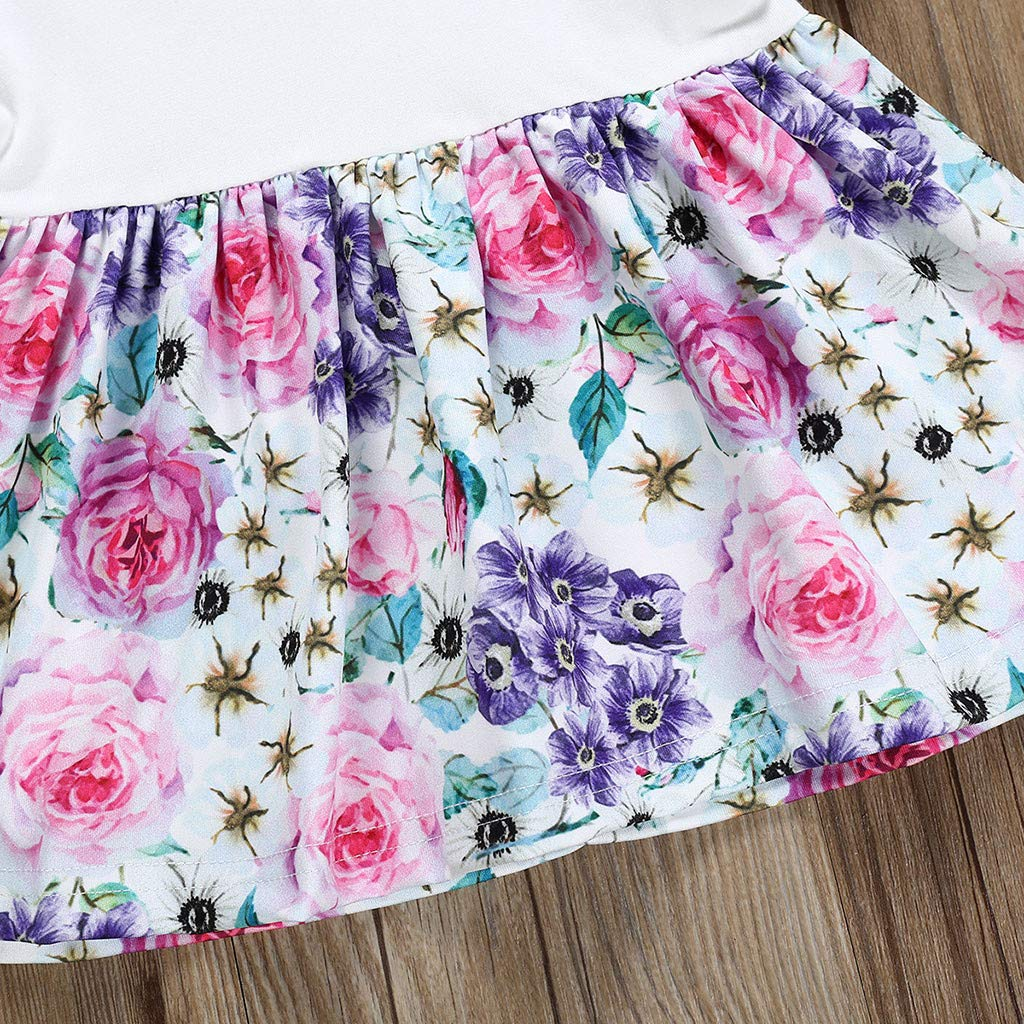Fabal Infant Baby Girls Floral Print Tops+Ruffles Shorts+Headband Outfits Sets
