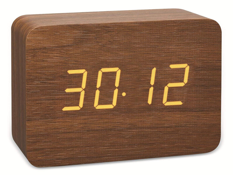 pl/ástico blanco//negro TFA Dostmann Dise/ño de radio despertador en aspecto de madera de clocco 60.2549.01