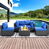 Shintenchi Outdoor Patio Furniture 5 Pieces Sets, All Weather PE Wicker Rattan Patio Conversation Sofa Set Tea Table…