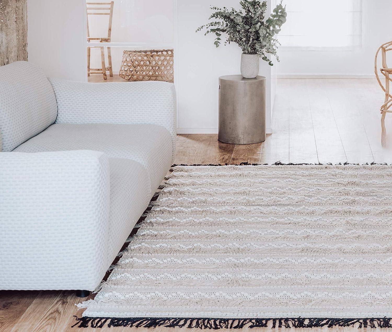 FabHub Handmade Area Rugs Patio Carpets Ember, 5'x7' 100% Cotton, Desert Beige, for Patio, Living Room, Farmhouse, Boho Aztec Chevron Rug, Moroccan décor for Home