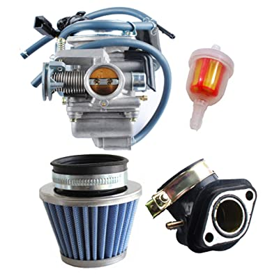 Podoy 150cc Carburetor GY6 26mm Carb with Air Filter Intake Manifold Fuel Filter Kit for Compatible with Roketa SunL Baja Kazuma Taotao Eagle Chinese Go Kart Carb: Automotive