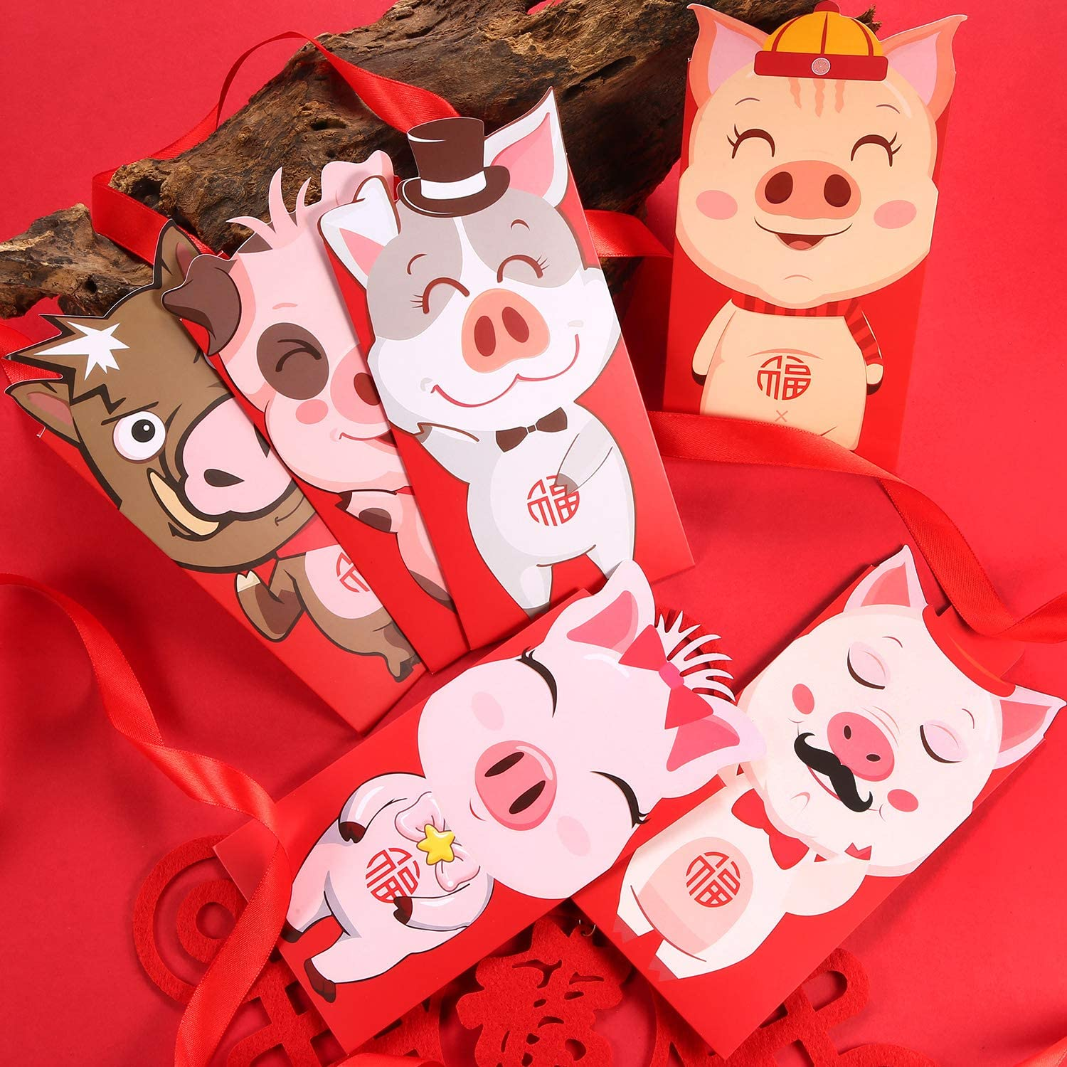 Boao 18 Pieces 2019 Chinese New Year Cartoon Pig Red Envelopes Packets Hong Bao Money Gift Envelope for The Year of Pig