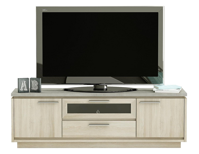 Demeyere Córdoba - Mueble TV 2 Puertas 1 cajón y 1 Asiento, en Paneles de partículas, Roble Shannon y hormigón Claro, 157 x 39,37 x 50 cm: Amazon.es: Hogar