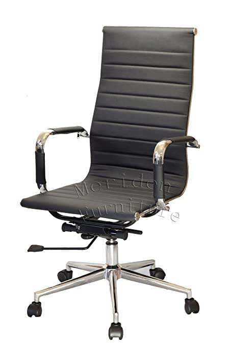 modern design high back pu leather chrome frame office chair in