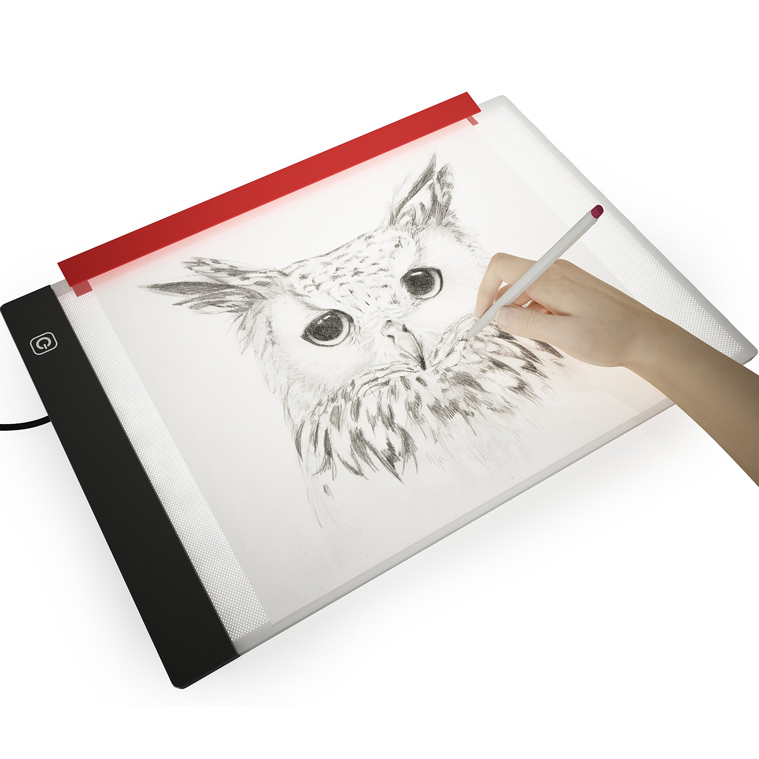 Picture/Perfect Best Light Box for Tracing ~ Ultra Thin Portable LED Light Pad with Advanced Filter to Prevent Eye Fatigue, Plus Free Paper Holder Clamp, A4 9''x13'' Table with Hi-Mid-Low Brightness