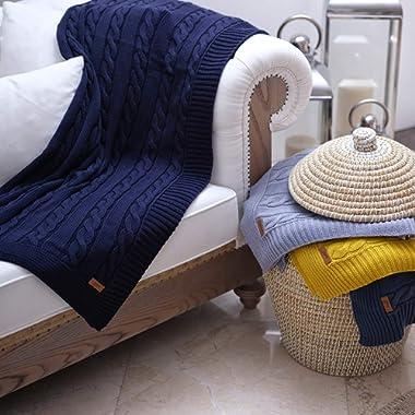 Efgima 100% Cotton Braid Cable Knit Throw Blanket Soft &Warm Multi Color (39 x 63 , Dark Blue)