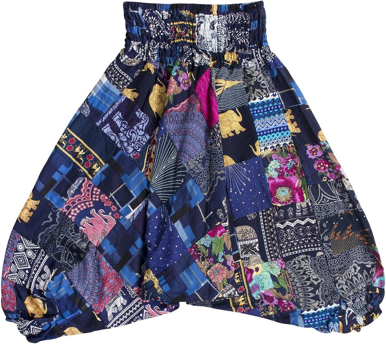LOFBAZ Cute Patchwork Harem Pants for Girls Boys Kids Toddler Boho Clothes