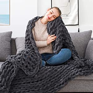 ZonLi Chunky Knit Throw Blanket 60