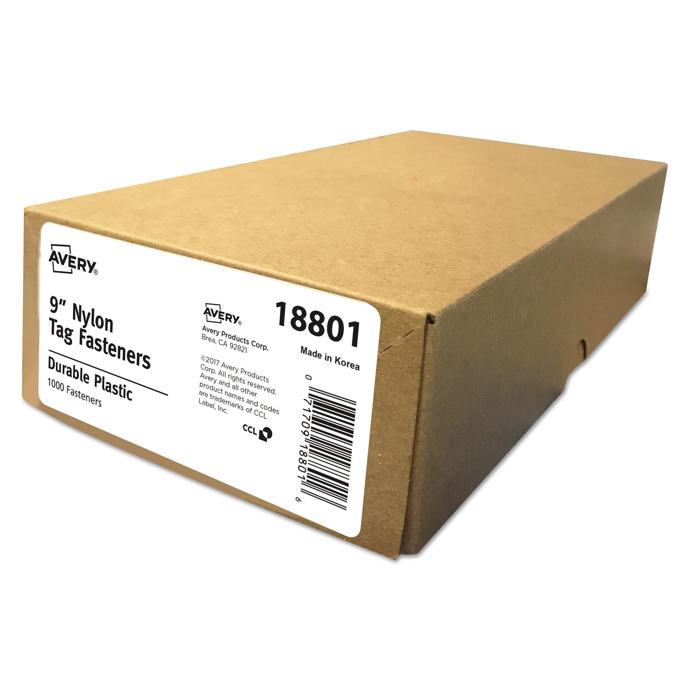 Avery 18801 Nylon Tag Fasteners, Weatherproof, 9'' Long (Box of 1000)