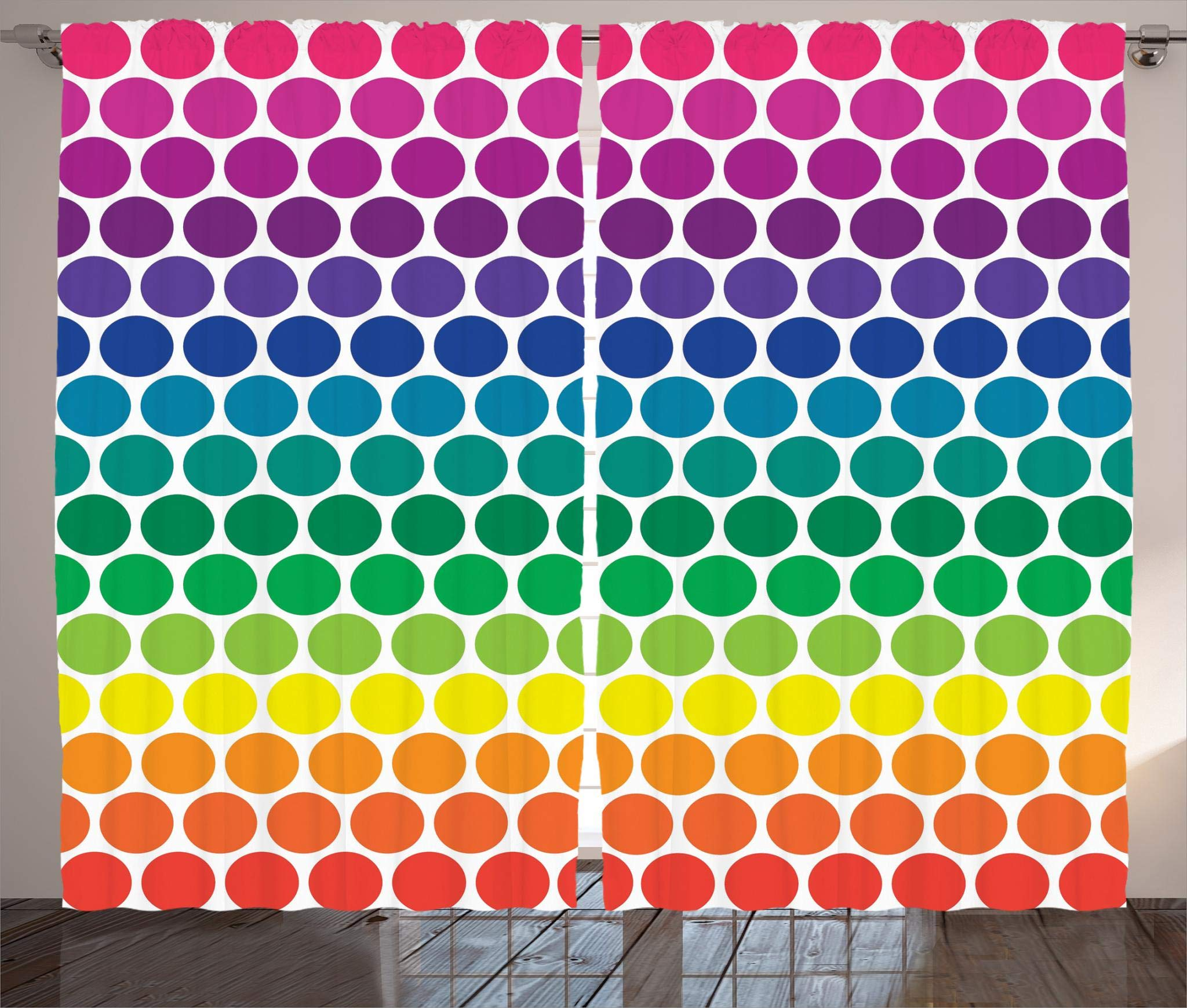 Ambesonne Polka Dots Home Decor Collection, Illustration of Bright Rainbow Colored Dots Big Circles Spots Playroom Kids Theme, Living Room Bedroom Curtain 2 Panels Set, 108 X 84 Inches, Multi