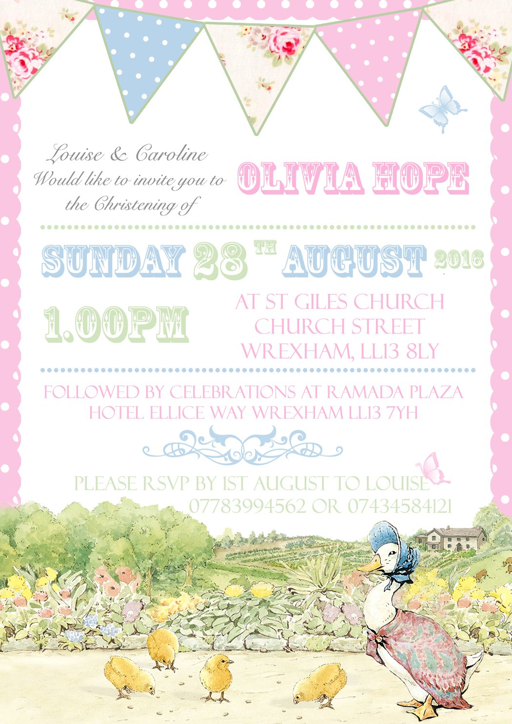 Peter Rabbit Shabby Chic Personalised Christening Naming Ceremony Confirmation Baptism Invitations Printed Invites Boy Girl Joint Party Twins Unisex Photo Card 5 10 20 30 40 50 60 70 80 90 100