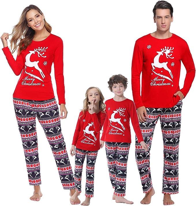 Pigiama Natalizio per La Famiglia Abbinato Indumenti da Notte Natalizi Indumenti da Notte Homewear Pantaloni a Maniche Lunghe Set di Abbigliamento da Casa per Mamma pap/à Bambino