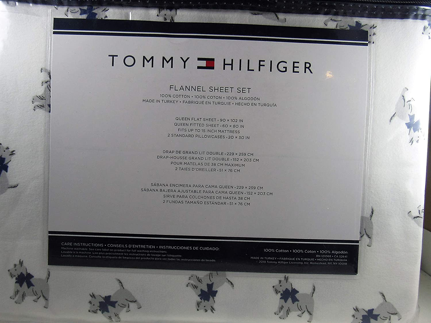 Amazon.com: Tommy Hilfiger Scottie Dog Flannel Queen Sheet Set 100% Cotton: Home & Kitchen