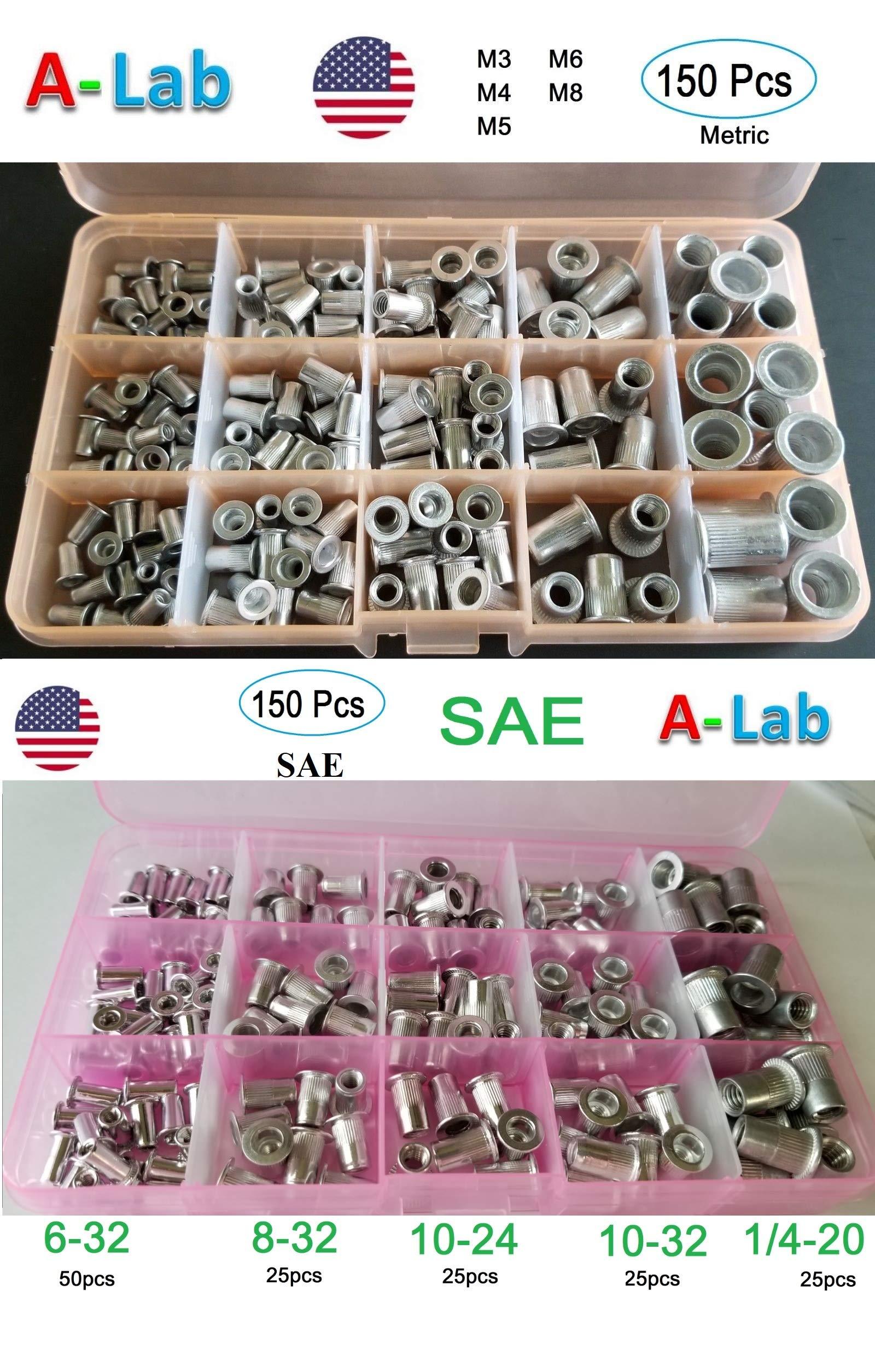 300 pcs Aluminum Rivet Nut Kit Rivnut Nutsert Assort (150pcs Metric+150pcs SAE)