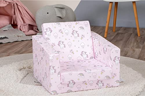 DELSIT Toddler Chair Kids Sofa - European Made Children s 2 in 1 Flip Open Foam Single Sofa, Toddler Fold Out Chair, Kids Couch, Comfy Flip Out Lounge Unicorns and Rainbows Pink