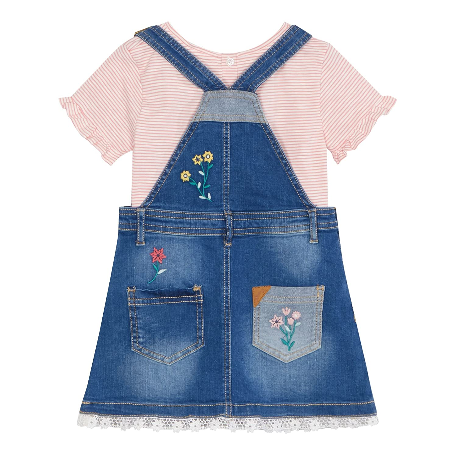 Mantaray Girls Blue Denim Bird Embroidered Pinafore Dress And Overall Pinny Stripe Striped Top Set Clothing