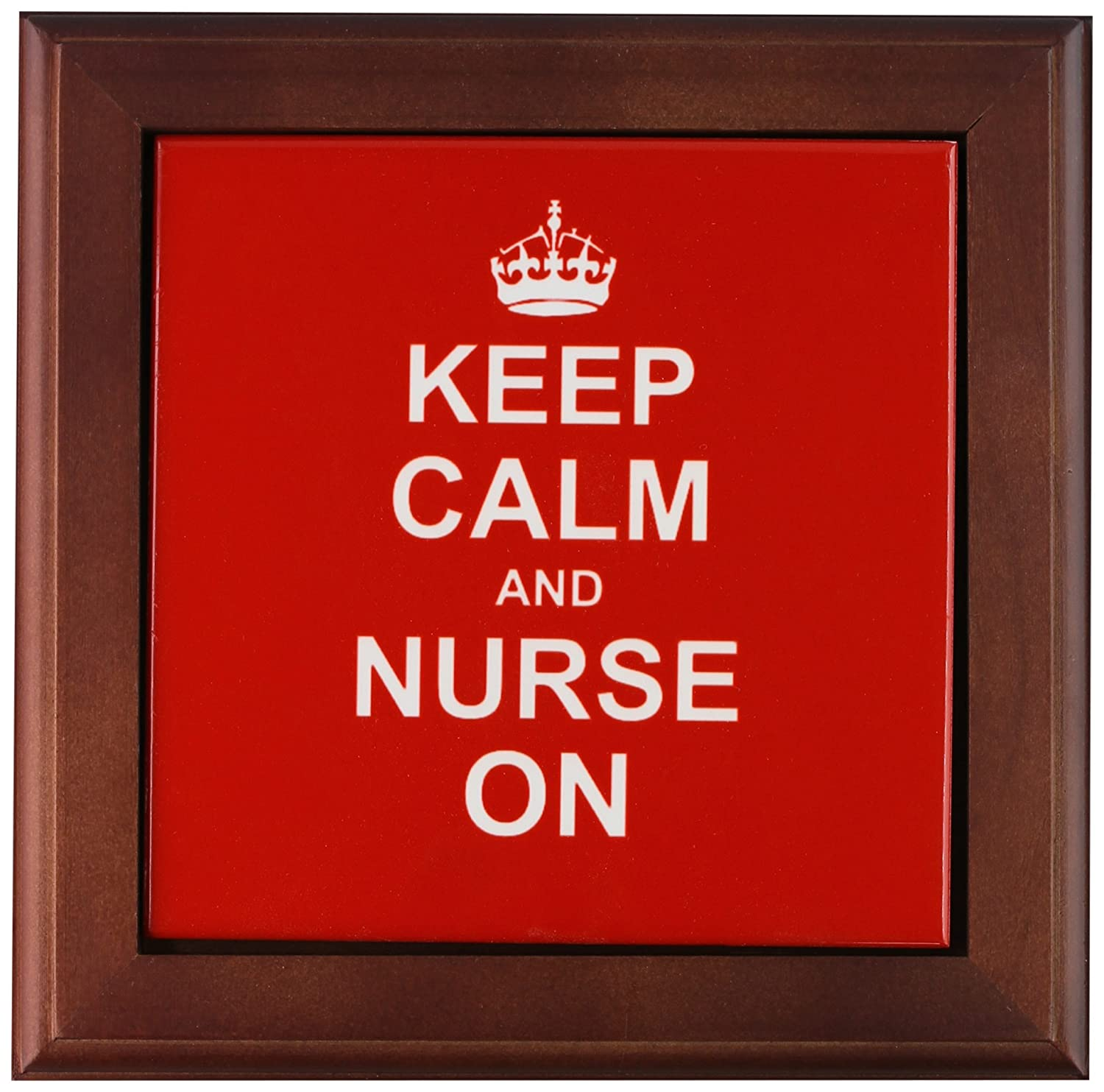 3dRose ft/_157745/_1 Keep Calm and Nurse on Red Carry on Nursing Nurses Day Gifts Fun Funny Job Humor Modern Stylish Framed Tile 8 by 8
