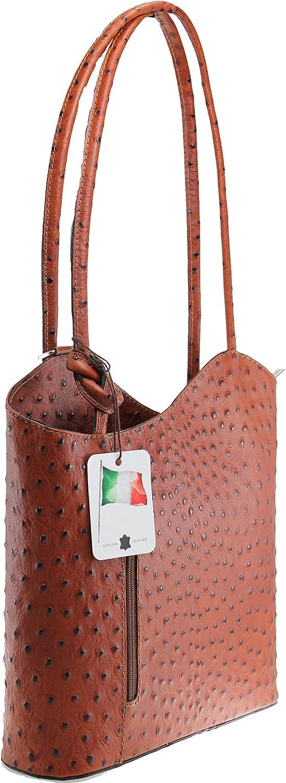 Chicca Tutto Moda CTM Tasche Damen Leder Schulter Strauß, 28x30x9cm, Leder Made in Italy