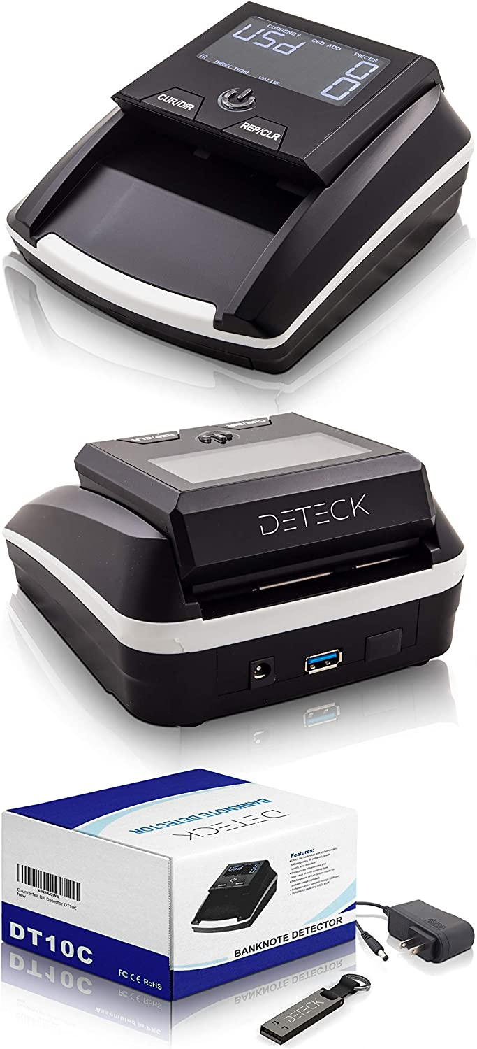 DETECK Swift Automatic Counterfeit Bill Detector Machine, 4-Way Direction USD Euro Value Counting, Counterfeit Money Detector UV/IR/MG for Small Businesses (Battery not Included) : Office Products