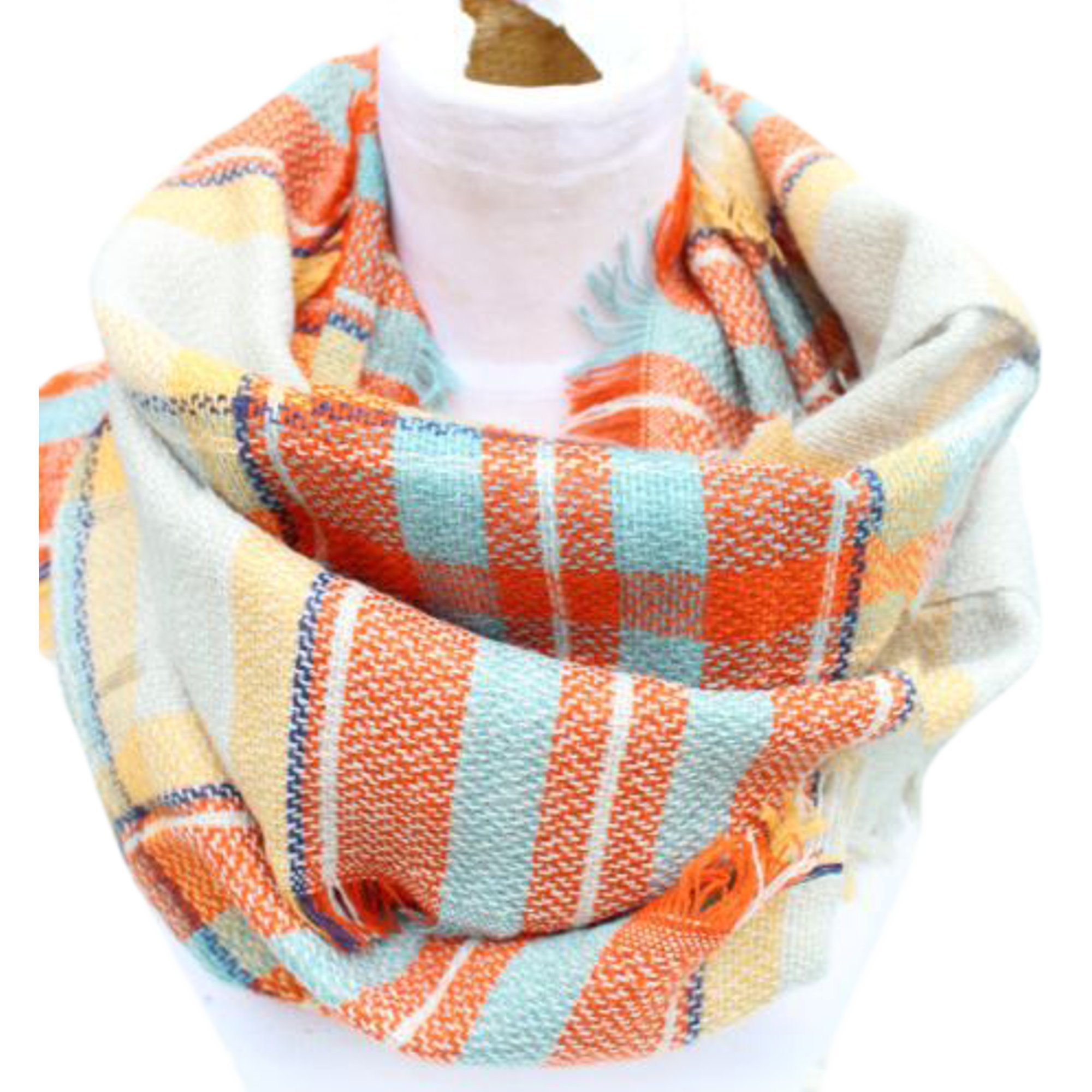 Epic Brand Infinity Scarf Collection for Men and Women   Comfortable Plaid Tartan Cashmere Blanket Circle Winter Scarves (Plaid Orange/Beige)