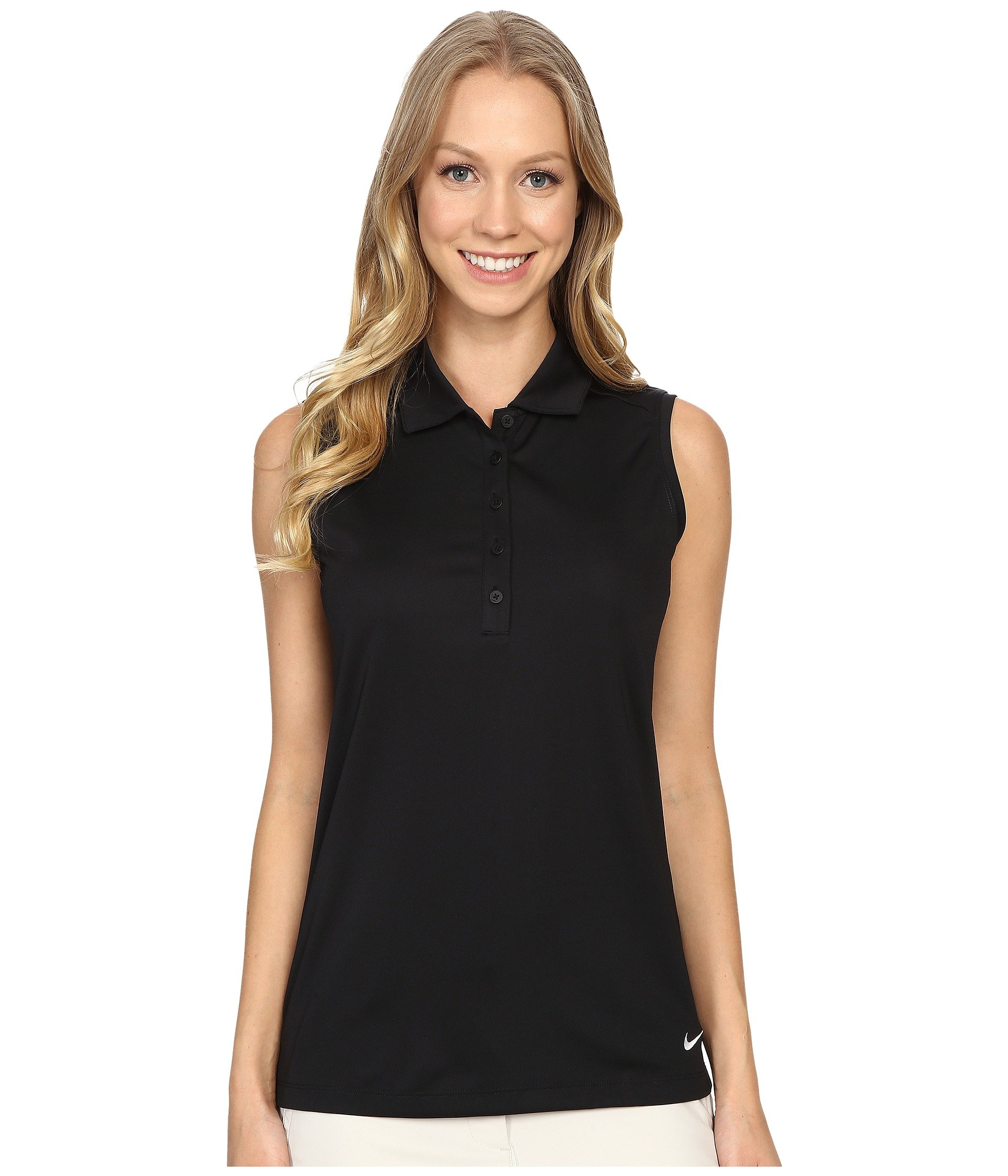 Nike Women's Victory Solid Sleeveless Polo, Black XS
