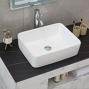 PetusHouse Bathroom Vessel Sink and Pop Up Drain Combo, Rectangle Above Counter White Porcelain Ceramic Bathroom Vessel Vanity Sink Washing Art Basin