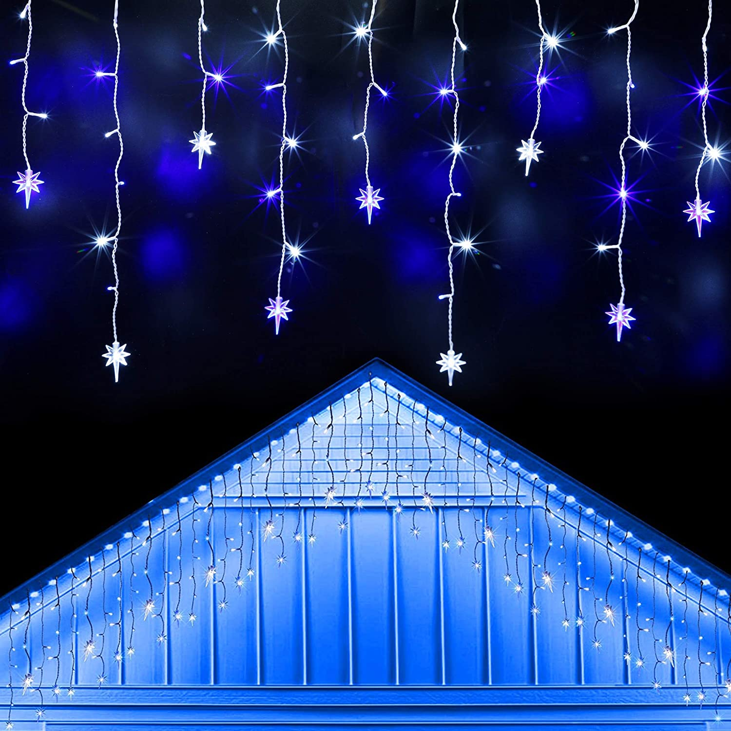 Twinkle Star Icicle Lights with Star, Outdoor Dripping Christmas Light with Bethlehem Star, 150LED 8 Modes White Wire Curtain Lights 30 Drops, Indoor Xmas Holiday Wedding Party Decor, White & Blue