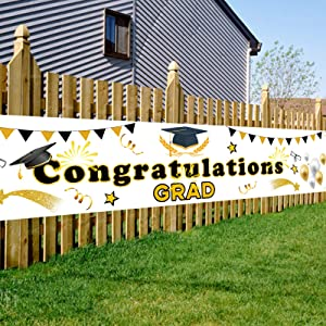 OuMuaMua Larger Congratulation Gard Banner Sign, Grad Congrats Party Supplies Hanging Flags Yard Signs Photo Booth Props for College High School Decor Class of 2021 Graduation Decorations,98'' X 18