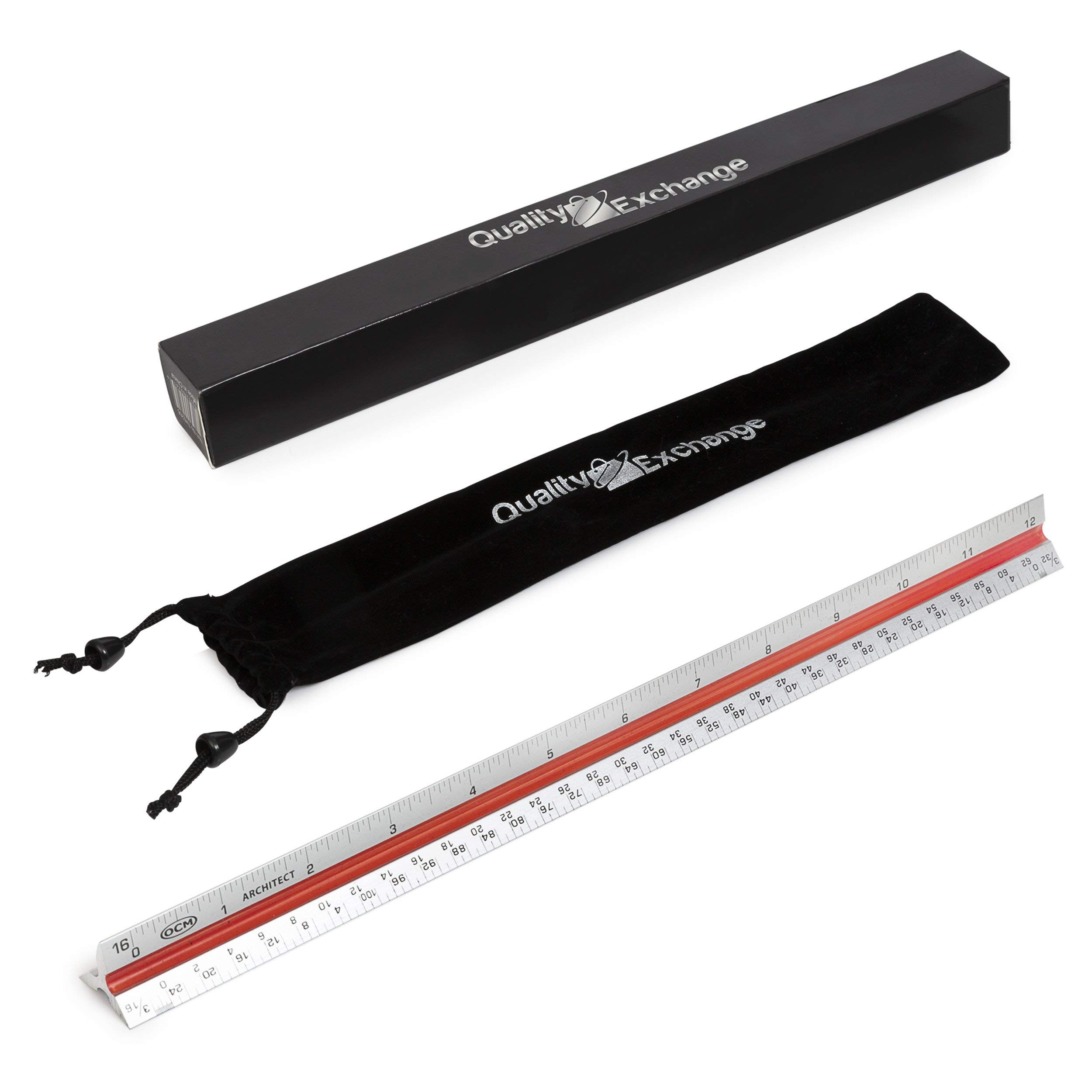 """Triangular Aluminum Architectural Scale Ruler   12"""" Triangular Architect Scale Metal Ruler Design   6 Scales on 3 Sides   Embossed Marks for Precision Measuring   Includes Carrying Bag"""