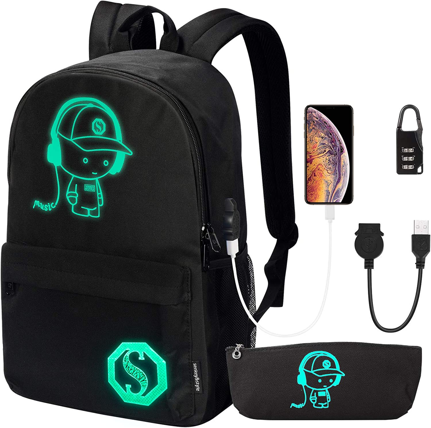 School Backpack, Anime Luminous Backpack College Bookbag Anti-Theft Laptop Backpack with USB Charging Port and Lock & Pencil Case, Unisex School Backpack for Teen Boys and Girls, Black